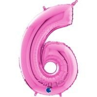 "Number 6 Fuschia 26"" (Unpackaged) Foil Balloon GRABO"