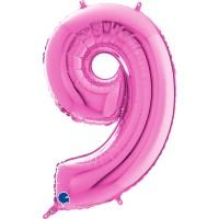 "Number 9 Fuschia 26"" (Unpackaged)  Foil Balloon GRABO"