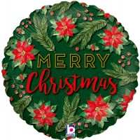 "Merry Christmas With Poinsettia 18"" Foil Balloon"