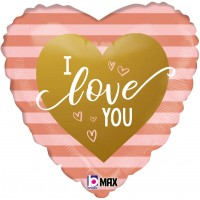 "Rose Gold Striped Heart I Love You 18"" Foil Balloon"