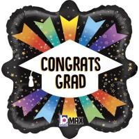 "18"" Square Congrats Grad Foil Balloon"