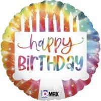 """Tie-Dye Cake Birthday 18"""" Foil Balloon"""
