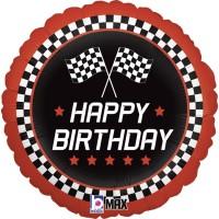 "18"" Checkered Flag Happy Birthday Foil Balloon"