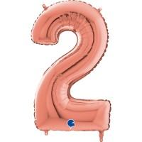 "Number 2 Rose Gold 26"" (Unpackaged)  Foil Balloon GRABO"