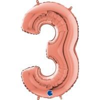 "Number 3 Rose Gold 26"" (Unpackaged)  Foil Balloon GRABO"