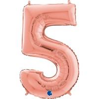 "Number 5 Rose Gold 26"" (Unpackaged)  Foil Balloon GRABO"