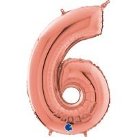 "Number 6 Rose Gold 26"" (Unpackaged)  Foil Balloon GRABO"