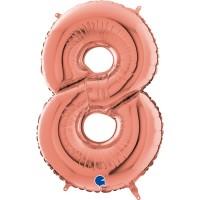 "Number 8 Rose Gold 26"" (Unpackaged)  Foil Balloon GRABO"