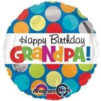 "Happy Birthday Grandpa - Dots 18"" Foil Balloon"