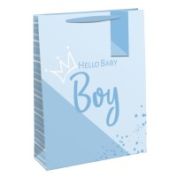 Hello Baby Boy Large Gift Bags 6ct