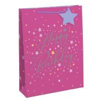 Pink Happy Birthday Stars Medium Gift Bag 6ct
