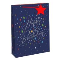 Blue Happy Birthday Stars Medium Gift Bags 6ct