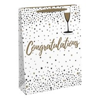 Gold and White Congratulations Medium Bags 6ct