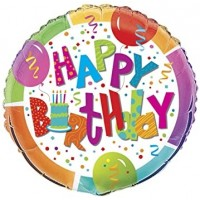"""Happy Birthday Cake and Streamers 18"""" Foil Balloon"""