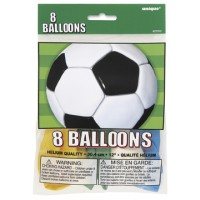 3-D Soccer 12'' Balloons Printed 1 Side 8 CT.