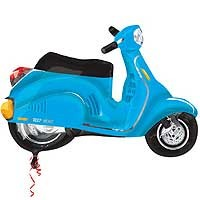Motor Scooter Blue Street Treat Shape - Large Helium Foil Balloon