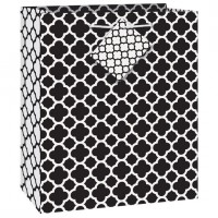 Black Quatrefoil Gift Bag Medium (12 Gift Bags)