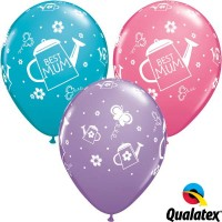 "Best Mum Watering Can 11"" Latex Balloon - Assorted Colours (25ct)"