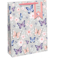 Flowers and Butterflies Large Gift Bags 6ct