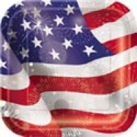 Old Glory 9'' Square Plates 8ct