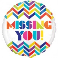 "Multi Chevron Missing You! - 18"" foil balloon"