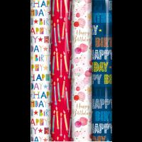 Happy Birthday Gift Wrap 3m 39ct