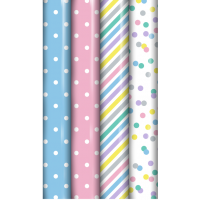 Baby Pastel Colours Gift Wrap 3m 39ct