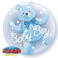 "Baby Blue Bear - 24"" Double Bubble"
