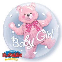 "Baby Pink Bear - 24"" Double Bubble"