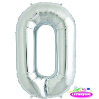 "34"" Silver Number 0 - Foil Balloon"