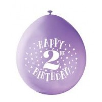 "Happy 2nd Birthday 9"" Latex Air Fill Balloon - Assorted Colours, Printed 1 Side - 10ct."