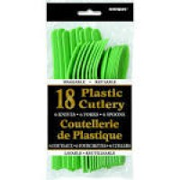 Lime Green Plastic Cutlery 18 CT.
