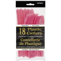 Hot Pink Plastic Cutlery Assorted 18 CT.