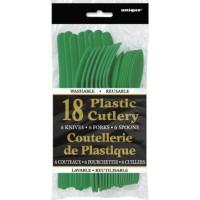 Emerald Green Plastic Cutlery Assorted 18 CT.
