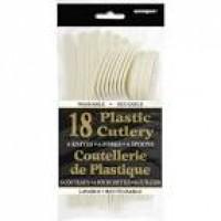Ivory Plastic Cutlery 18 CT.