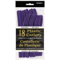 Deep Purple Plastic Cutlery Assorted 18 CT.