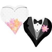 "Wedding Couple Hearts - SuperShape - 30""W x 25""H"