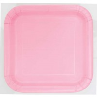 "Lovely Pink 9"" Square Plates 14 CT."