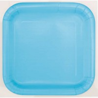"Powder Blue 9"" Square Plates 14 CT."