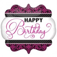 "Happy Birthday Pink And Black 25"" Supershape"