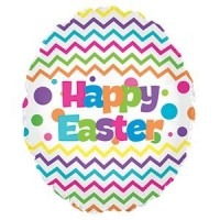 "Happy Easter Chevron 18"" Foil Balloon"