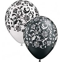 "Damask Print Black and White 11"" Round Latex 25ct"
