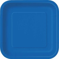 Royal Blue 9'' Square Plates 14 CT.