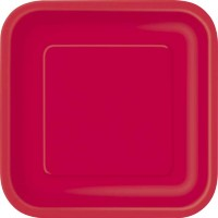 Ruby Red 9'' Square Plates 14 CT.