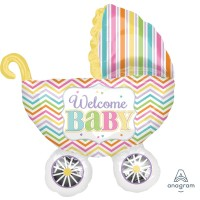 "Colourful Welcome Baby Pram Supershape 31"" x 28"""