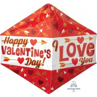 "Red and Gold Happy Valentines Two Sided Supershape 17"" X 21"" Foil Balloon"