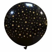 "32"" Black Metallic Balloon with small Gold Stars 1Ct"