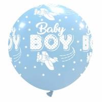 """32"""" Baby Boy with Planes Latex Balloon 1Ct"""