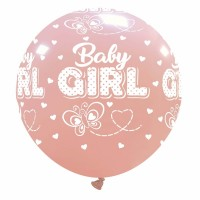 """32"""" Baby Girl with Butterflies Latex Balloon 1Ct"""