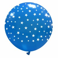 """32"""" Light Blue Balloon with small White Stars 1Ct"""